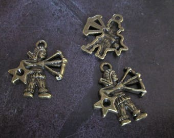 a sign of Zodiac Sagittarius metal bronze charm 20 x 20 mm