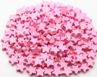 wood star beads 15 mm pink 10 beads