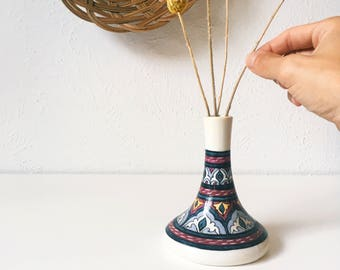 Vintage Hand-Painted Egyptian Bud Vase / Candle Holder + Candlestick + Mostorod Egypt Pottery + Blue Yellow Plum White