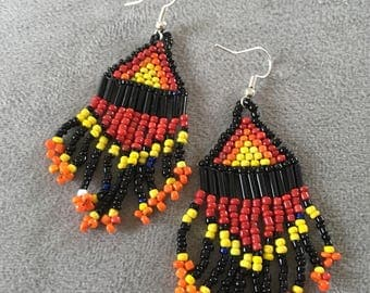 Southwestern earrings, red, black, yellow and orange