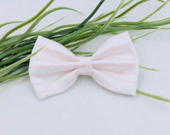 Baby Girl classic Bow Headband - Nylon Headbands - Hair clip - Infant / Toddler /  Fabric Hair Bows / Clips - pale ponk stripes