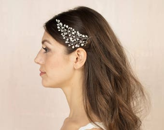 Skye Headdress - Pearl and Swarovski crystal bridal hair decoration