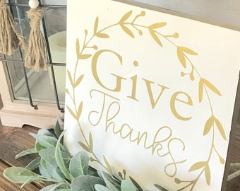 Give Thanks | Fall Decor | Metallic Gold