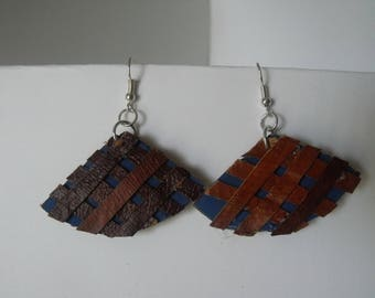 Cardboard Earrings with Tree Bark