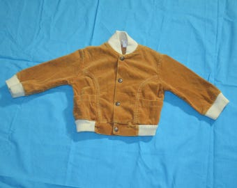 70s 80s Toddler Boys Brown Corduroy Jacket - Size Two