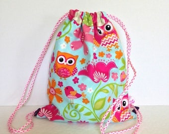 Personalized Kids Owl Drawstring Backpack, personalized kids owl drawstring bag, personalized kids cinch sack, girl drawstring backpack