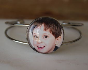 Custom Photo Bracelet - Personalized Photo Bracelet - Baby Bracelet - Photo Cuff Bracelet with Picture - Unique Gift - Personalized Gift