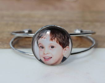 Custom photo gift for her/Bracelet with photo charm/Personalized Photo Bracelet/Personalized photo jewelry for wife/Bracelet from son
