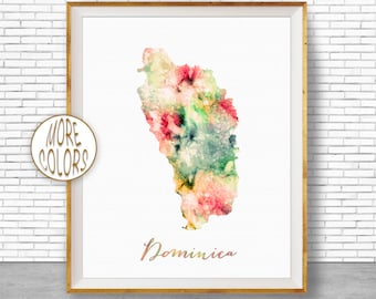 Dominica Art Dominica Print Office Art Print Watercolor Map Dominica Map Print Map Art Office Decorations Country MapGift for Women