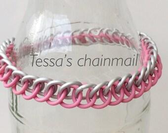 Pink bracelet, pink rubber bracelet, half persian bracelet, pink chainmaille half persian, stretchy bracelet, white, Tessa's chainmail