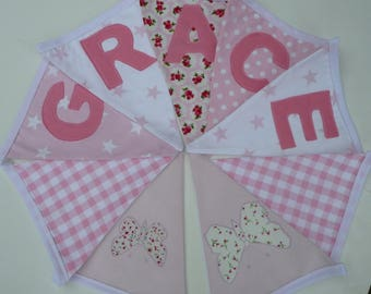 Girl's Personalised Bunting.Handmade Using Laura Ashley Bella Butterfly Fabric.Price Per Flag.pink Bunting Garland.