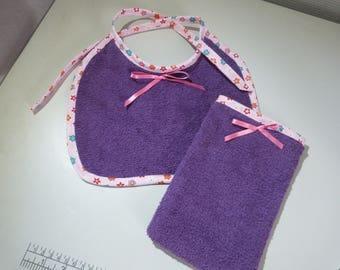 All baby bib + her purple glove