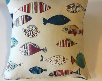 Beachcomber cushion - fish on natural