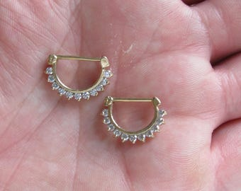 14k Solid Gold Nipple Rings(Set Of 2)..14g..12mm