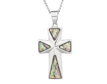 "Silver-Tone Cross Religious Necklace Pendant with Mother of Pearl Abalone Inlay in Stainless Steel, 18""-24"" Chain"