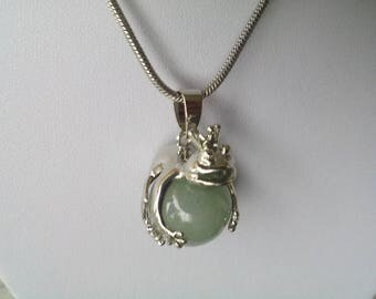 Frog necklace with green Aventurine ball ~ silver ~