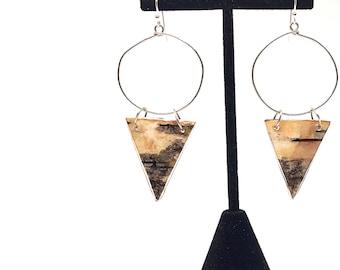 Triangle Birch Bark Wood Hoop Earrings