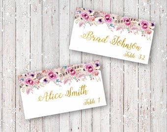 Bohemian Wedding Place Cards, Reserved Seating Cards, Name Cards, Tent Place Cards with Flowers, Feathers and Gold Foil Font