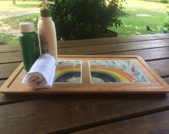 Rainbow Tray-tray wood tiles