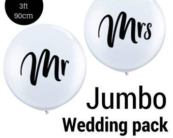 White Jumbo Wedding balloons in Mr & Mrs Jumbo 90cm 3ft Latex balloons