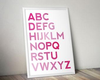 ABC Nursery Print - Pink - Bedroom - Nursery Wall Art