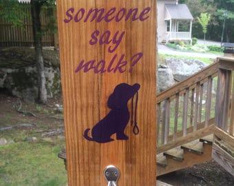 Did someone say walk? Dog Leash Pallet sign