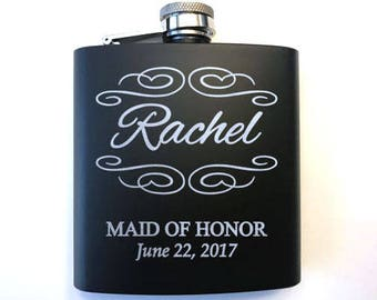 Personalized Bridal Party Flasks - Bridal Party Gifts - Flask for Wedding Party - Wedding Party Gifts - Bridesmaid Gift - Flask Gift
