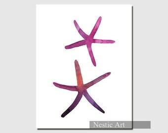 Pink Starfish / Starfish, Starfish illustration, Starfish art, Starfish prints, 5x7, 8x10. 11x14. Home decor, wall art, gift.