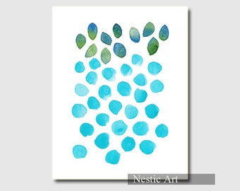 Blue Polka Dot, turquoise blue, drops, 5x7, 8x10, 11x14, 16x20, A2, watercolor, print, printable, minimalist, abstract art, contemporary art