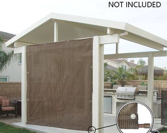 Custom Sized Rod Pocket Sun Shade Panel with 3 Sides Eyelets for Patio, Awning, Window Cover, Canopy Side Wall, Pergola or RV - Mocha Brown