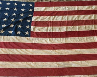Antique American Flag (48 stars) with Antique Stars And Stripes Banner