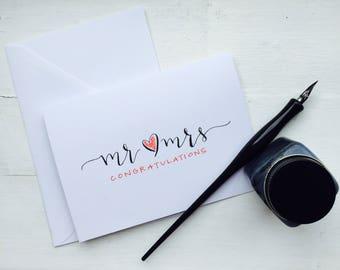 Mr & Mrs / custom calligraphy card