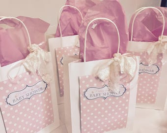 Pastel Pink Polka Dot Themed Party Gift Bags - Birthday, Baby Shower, Christening, Wedding, Hen Party Favours Goodie Bags