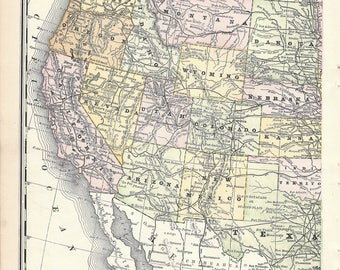 Antique map of USA from 1889 atlas, vintage United States map