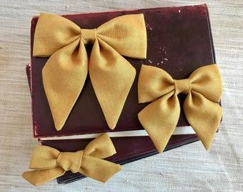 Mustard Hair Bows - Mustard Sailor Bows - Hair Bows - Girls Hair Bow - Baby Girl Bow - Toddler Girl Bow - Baby Headband Bows - Sailor Bow