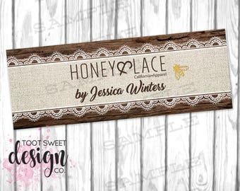 Honey and Lace Facebook Cover Photo, Honey & Lace FB Cover Image, Online Shop Social Media Banner, Burlap Wood Lace Bee DIGITAL for WEB