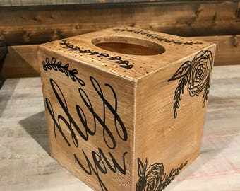 Antiqued wood tissue box cover