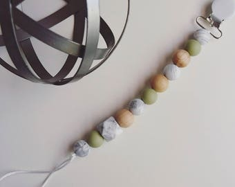 Olive and marble hexagon pacifier clip
