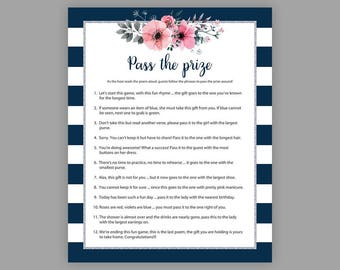 Pass the Prize, Bridal Shower Games, Pass the Parcel Game, Floral Bridal Shower, Bachelorette Party Games, Rhyme Game, Parcel Game, J022