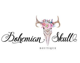 Boho logo, Premade logo design, Calligraphy logo, Cow skull logo, Bohemian logo watermark, Boutique logo, Photography logo, Florist logo