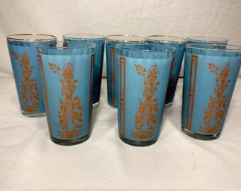 Eight vintage Federal Thai themed mid century glasses in blue