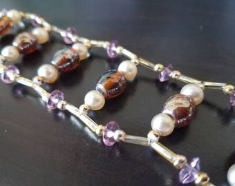 7 Inch Pearl and Glass Beaded Bracelet