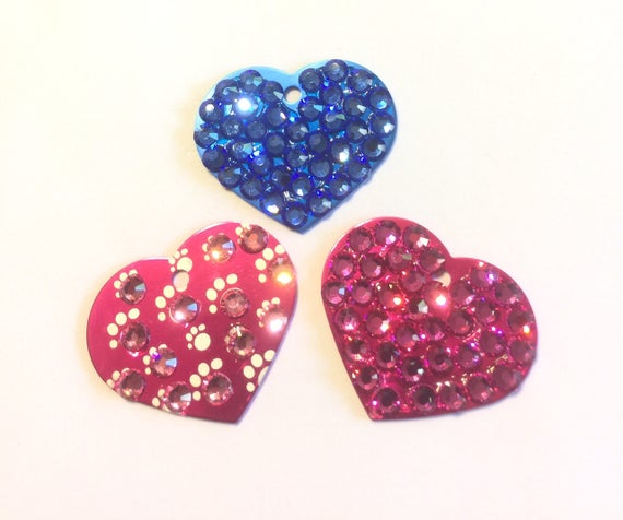 Crystal Rhinestone Dog Cat Pet Heart ID Engravable Tag for Collar, 5 Fonts, Clip Art - High Quality - USA