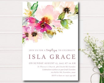 Pink Floral Baptism Invitation, Garden Baptism Invitation, Rustic Christening Invite, Printable Invitation, Floral Baptism, Girl Baptism