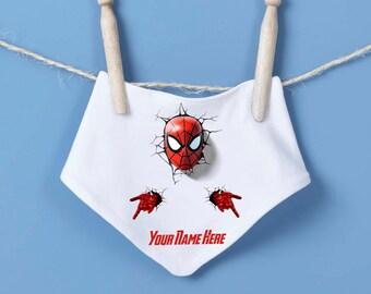 Spiderman baby bandana bib - personalised bandana bib, marvel bib, the avengers, super hero bandana, baby shower gift, cake smash, birthday