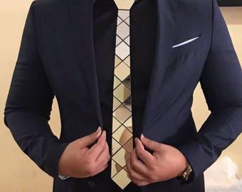 Dapper Gold/Black/Silver Hex Style Tie Diamond Cross Tie ( Suit Accessories - NeckTie , Neck Tie modern tie unique tie futuristic tie)