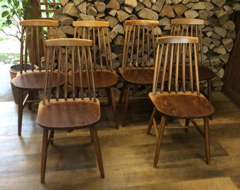 Set Of Six Vintage Retro Spindle Back Dining Chairs