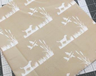 Hunting Dog Fabric, Duck Hunting fabric, Hunting fabric, woodland fabric, lab dog fabric, fabric remnant, cotton fabric destash, duck fabric