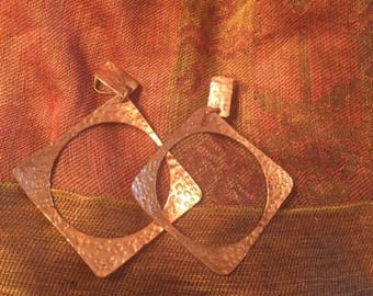 Vintage J.B. Pericles Hammered Copper Losanges Earrings