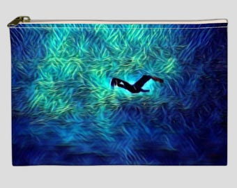 Pouch, clutch, makeup bag with photo printed on both sides, zippered top.
